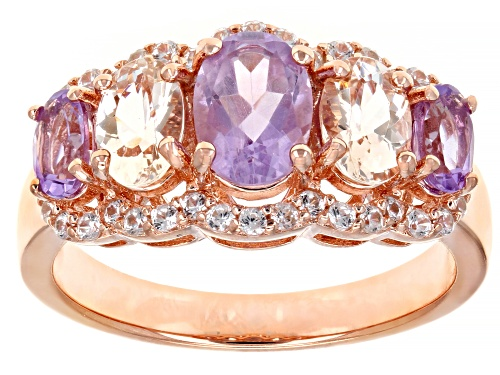Photo of 1.08ctw lavender amethyst, .68ctw morganite and .32ctw white zircon 18k rose gold over silver ring - Size 7