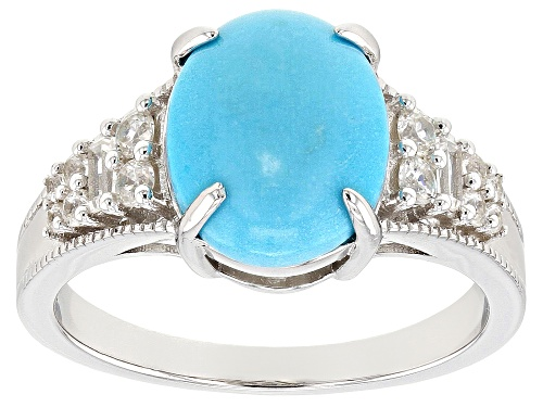 Photo of 11x9mm Oval Sleeping Beauty Turquoise & .33ctw White Zircon Rhodium Over Silver Ring - Size 9