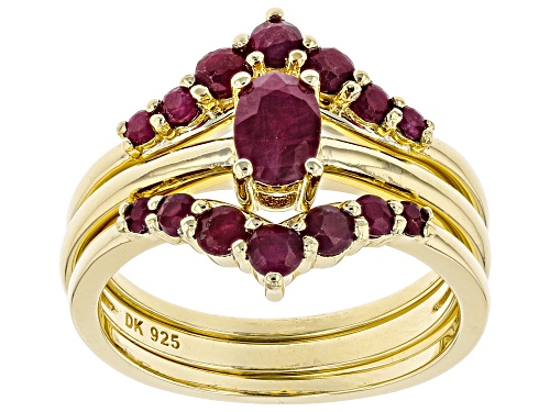 Photo of 1.62CTW OVAL AND ROUND BURMESE RUBY 18K YELLOW GOLD OVER STERLING SILVER SET OF 3 STACKABLE RINGS - Size 7