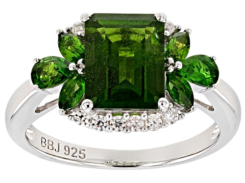Photo of 2.56ctw Mixed Shapes Chrome Diopside with .17ctw White Zircon Rhodium Over Silver Ring - Size 9
