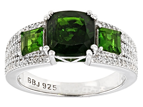 Photo of 2.42CTW RUSSIAN CHROME DIOPSIDE WITH .32CTW WHITE ZIRCON RHODIUM OVER SILVER RING - Size 8