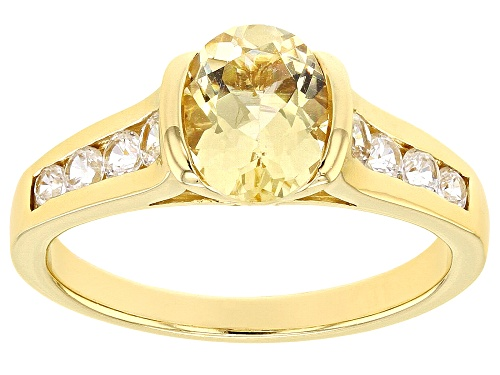 Photo of .90CT OVAL YELLOW BERYL WITH .49CTW ROUND WHITE ZIRCON 18K YELLOW GOLD OVER STERLING SILVER RING - Size 8