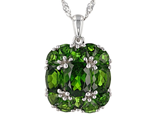 Photo of 6.09ctw Mixed Shape Russian Chrome Diopside Rhodium Over Sterling Silver Pendant with Chain