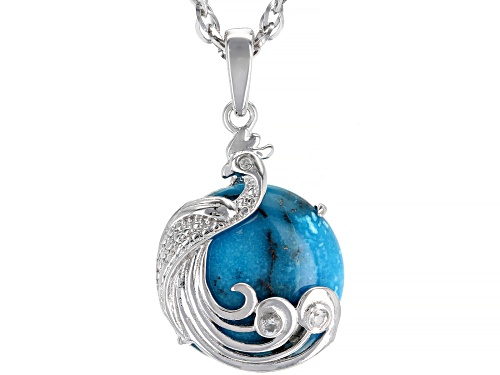 Photo of 15mm Round Turquoise & .02ctw Round White Zircon Rhodium Over Silver Peacock Pendant With Chain