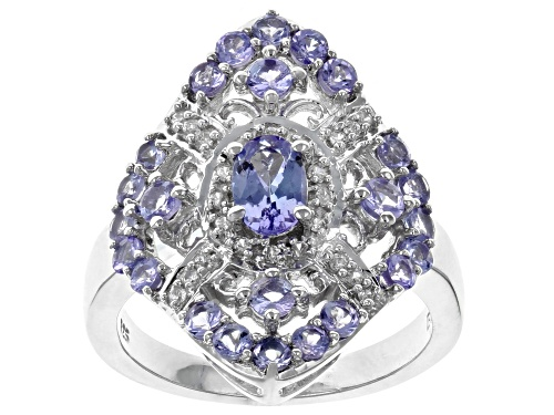 Photo of 1.47CTW OVAL AND ROUND TANZANITE WITH .12CTW WHITE ZIRCON RHODIUM OVER STERLING SILVER RING - Size 6