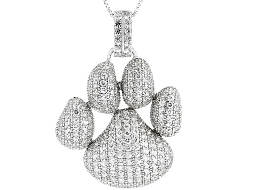 Photo of 4.76ctw Round White Zircon Rhodium Over Sterling Silver Paw Print Pendant with Chain