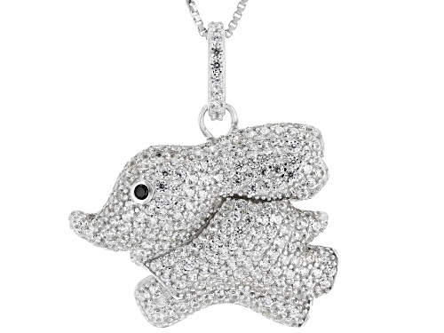 Photo of 2.55ctw White Zircon with .01ct Black Spinel Rhodium Over Sterling Silver Elephant Pendant w/Chain