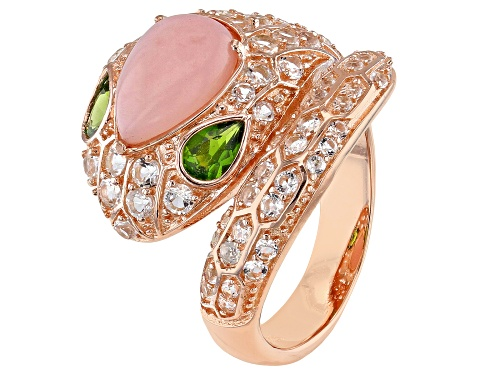 Photo of Pear Shape Peruvian Pink Opal, 1.65ctw Chrome Diopside & White Topaz 18k Gold Over Silver Snake Ring - Size 7