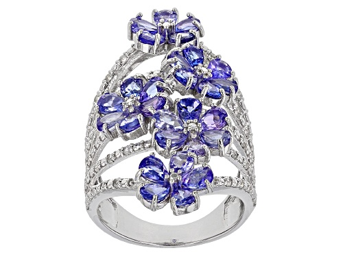 Photo of 3.09ctw Pear Shape Tanzanite with .25ctw Round White Zircon Rhodium Over Sterling Silver Ring - Size 7