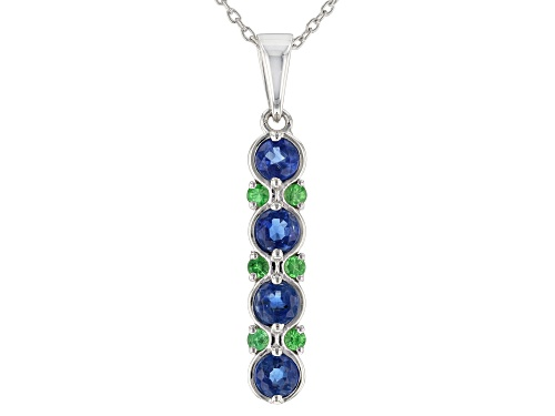 Photo of 1.25ctw Round Kyanite With .25ctw Round Tsavorite Sterling Silver Dangle Pendant With Chain