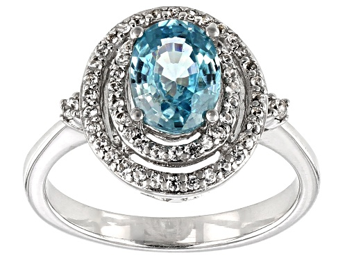 Photo of 1.59ct Oval Blue Zircon with .36ctw Round White Zircon Rhodium Over Sterling Silver Ring - Size 7