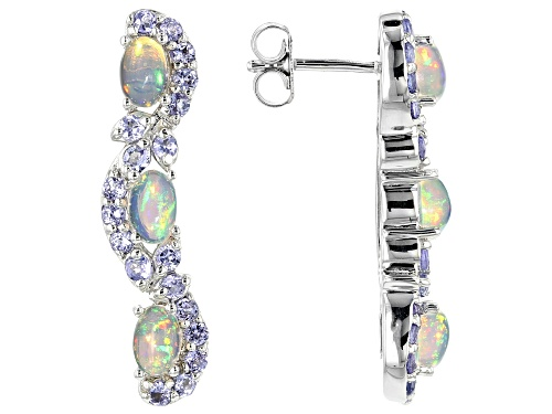 Photo of 1.53CTW OVAL CABCHON ETHIOPIAN OPAL WITH 1.29CTW TANZANITE RHODIUM OVER STERLING SILVER EARRINGS