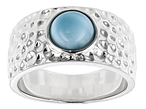 Photo of 7mm Round Larimar Cabochon Rhodium Over Sterling Silver Hammered Finish Band Ring - Size 7