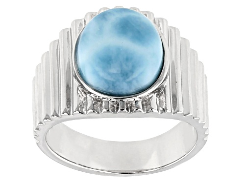 Photo of 12x10mm Round Cabochon Larimar Solitaire Rhodium Over Sterling Silver Textured Ring - Size 7