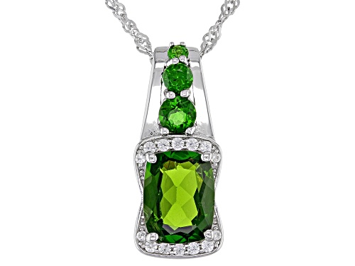 Photo of 2.27ctw Cushion & Round Chrome Diopside, .11ctw Zircon Rhodium Over Silver Pendant W/ Chain