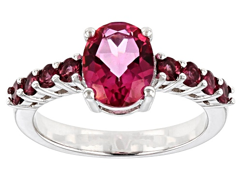 Photo of 1.70ct Oval Pink Topaz With .60ctw Round  Raspberry Color Rhodolite Rhodium Over Silver Ring - Size 8