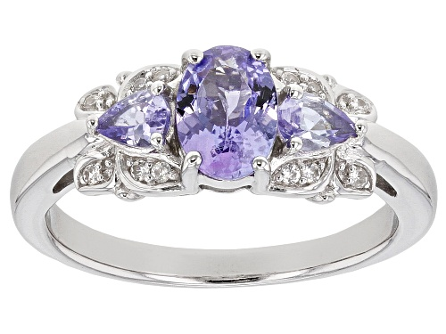 Photo of .92CTW OVAL AND PEAR SHAPE TANZANITE WITH .07CTW WHITE ZIRCON RHODIUM OVER STERLING SILVER RING - Size 6