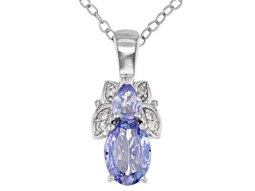 Photo of .78CTW OVAL AND PEAR SHAPE TANZANITE WITH .03CTW WHITE ZIRCON RHODIUM OVER  SILVER PENDANT/CHAIN