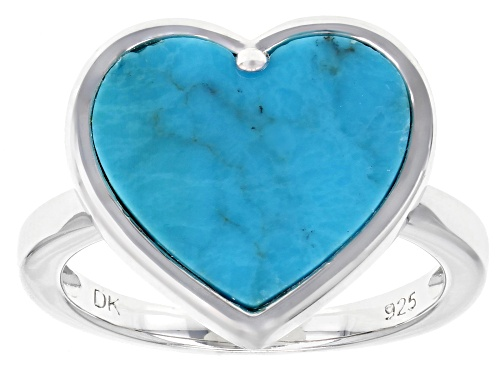 Photo of 14mm Heart Shape Turquoise Solitaire Rhodium Over Sterling Silver Ring - Size 9