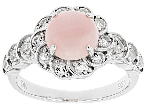 Photo of 8mm Round Peruvian Pink Opal with .59ctw White Topaz Rhodium Over Sterling Silver Ring - Size 12
