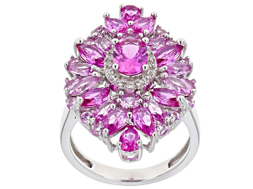 Photo of 4.77ctw Mixed Shape Lab Created Pink Sapphire & .18ctw Round White Zircon Rhodium Over Silver Ring - Size 7