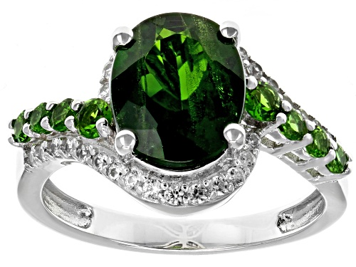 Photo of 2.38ctw Oval & Round Chrome Diopside With .32ctw Round White Zircon Rhodium Over Silver Ring - Size 7