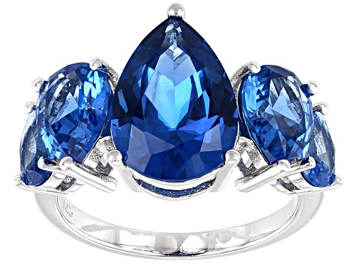 Photo of 6.80ctw Pear Shape Lab Created Blue Spinel Rhodium Over Sterling Silver 5-Stone Ring - Size 8