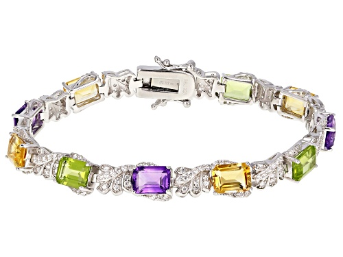 Photo of 14.39ctw Citrine, Amethyst, Manchurian Peridot™ & White Zircon Rhodium Over Silver Bracelet - Size 8