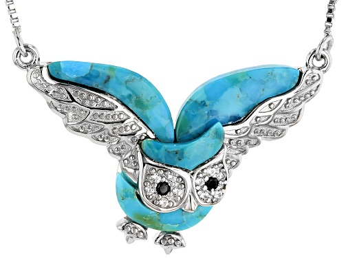 Photo of Fancy cut turquoise with .02ctw black spinel & .06ctw white zircon rhodium over silver owl necklace