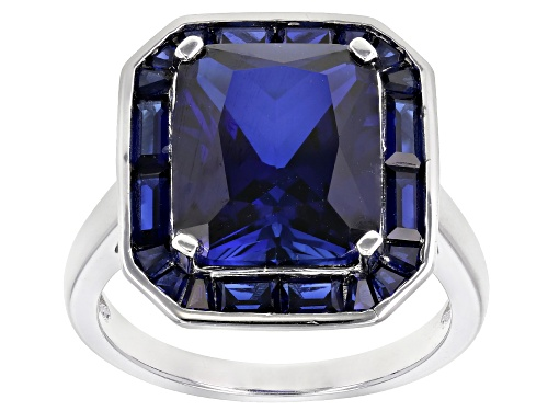 Photo of 7.33CTW RECTANGULAR OCTAGONAL/BAGUETTE LAB CREATED BLUE SAPPHIRE RHODIUM OVER SILVER RING - Size 7