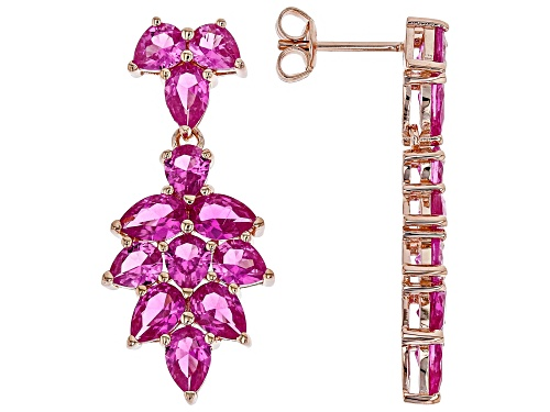 Photo of 8.07ctw Pear Shape Lab Created Pink Sapphire 18k Rose Gold Over Sterling Silver Dangle Earrings