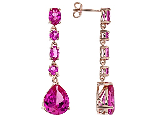 Photo of 11.94ctw Mixed Shape Lab Created Pink Sapphire 18k Rose Gold Over Sterling Silver Dangle Earrings