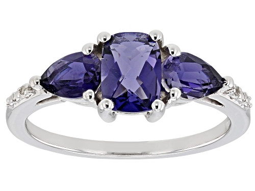 Photo of 1.25ctw Cushion and Pear Shape Iolite, with .02ctw White Topaz Rhodium Over Silver 3-Stone Ring - Size 7