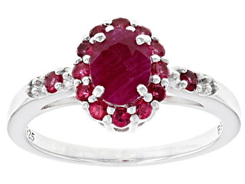 Photo of .80ct oval Burmese ruby with .33ctw round red spinel rhodium over sterling silver ring - Size 8