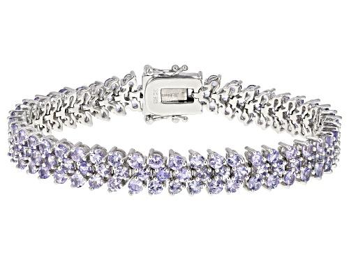 Photo of 11.96ctw Round Tanzanite Rhodium Over Sterling Silver Tennis Bracelet - Size 7.25