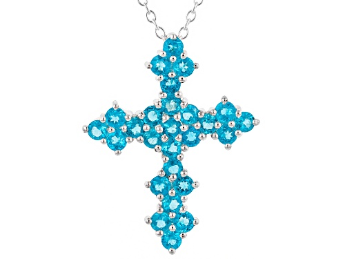 Photo of 1.44ctw Round Neon Apatite Sterling Silver Cross Pendant With Chain
