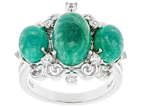 Photo of Oval Amazonite with .27ctw Round White Zircon Rhodium Over Sterling Silver Ring - Size 7