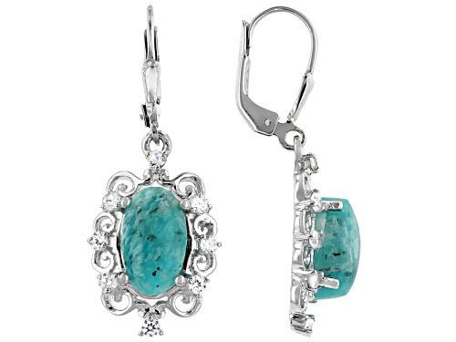 Photo of 12x8mm Amazonite with .54ctw White Zircon Rhodium Over Sterling Silver Dangle Earrings