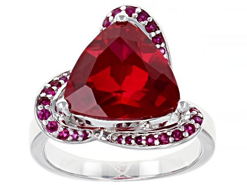 Photo of 5.15ctw Trillion and Round Lab Created Ruby Rhodium Over Sterling Silver Ring - Size 9
