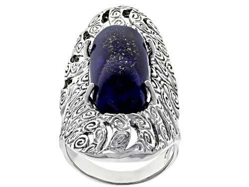 Photo of 26X10MM OVAL CABOCHON LAPIS LAZULI RHODIUM OVER STERLING SILVER SOLITAIRE RING - Size 6