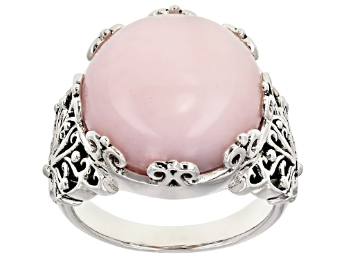 Photo of 15mm round Peruvian pink opal solitaire, rhodium over sterling silver ring - Size 9