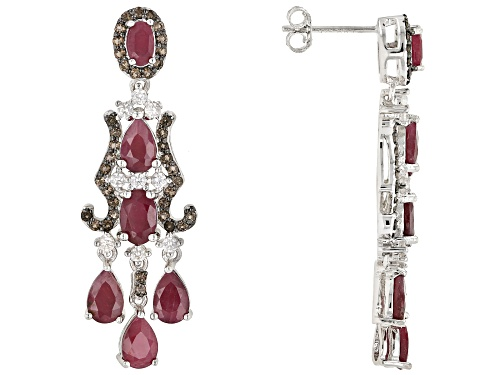 Photo of 4.62ctw Indian ruby with .53ctw smoky quartz & .52ctw white zircon rhodium over silver earrings