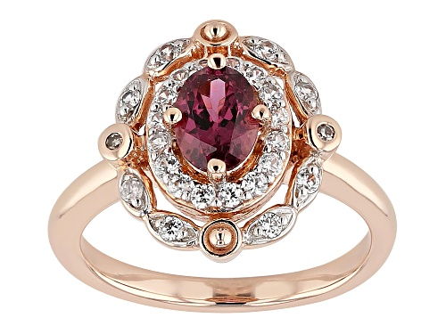 Photo of .96ctw Blush Color Garnet, White Zircon & 2 Champagne Diamond Accents 18k Rose Gold Over Silver Ring - Size 9