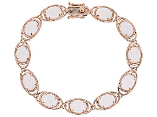 Photo of 9X7mm oval rose quartz 18k rose gold over sterling silver bracelet - Size 8