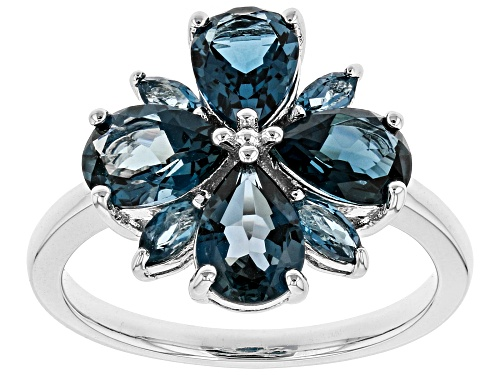 Photo of 2.99ctw Pear Shape & Marquise London Blue Topaz Rhodium Over Sterling Silver Ring - Size 7