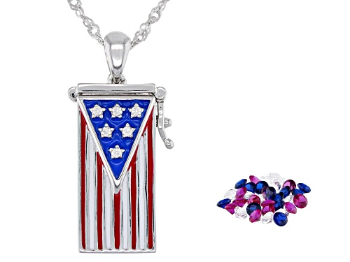 "Photo of 1.42ctw Lab Ruby, White Sapphire & Blue Spinel Rhodium Over Silver Flag ""Prayer Box"" Pendant W/Chain"