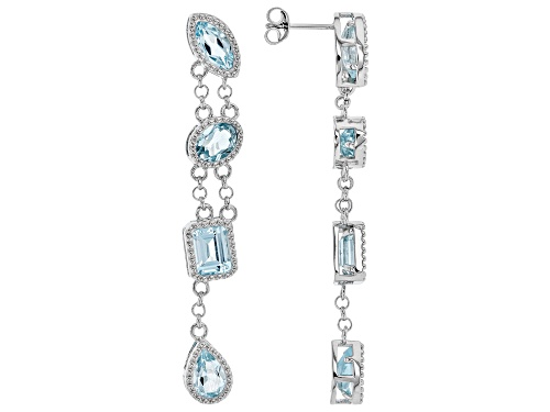 Photo of 10.46ctw Glacier Topaz(TM) and .17ctw white zircon rhodium over silver 4-stone dangle earrings