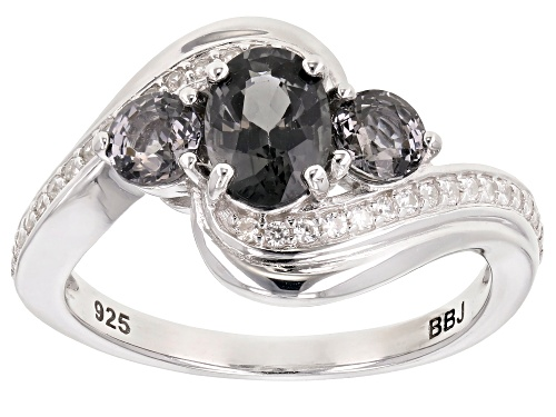 Photo of .95CTW OVAL AND ROUND PLATINUM COLOR SPINEL WITH .18CTW WHITE ZIRCON RHODIUM OVER SILVER RING - Size 8
