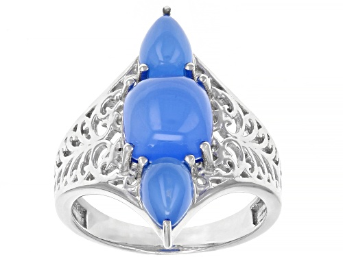 Photo of 8mm Square Cushion & 7x5mm Pear Shape Cabochon Blue Chalcedony, Rhodium Over Silver 3-Stone Ring - Size 7