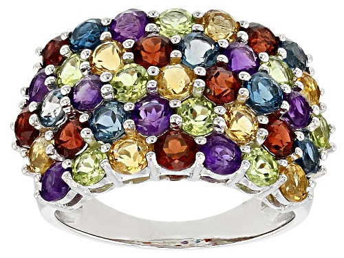 Photo of 4.65ctw Round Multi-Gemstone Rhodium Over Sterling Silver Cluster Band Ring - Size 7